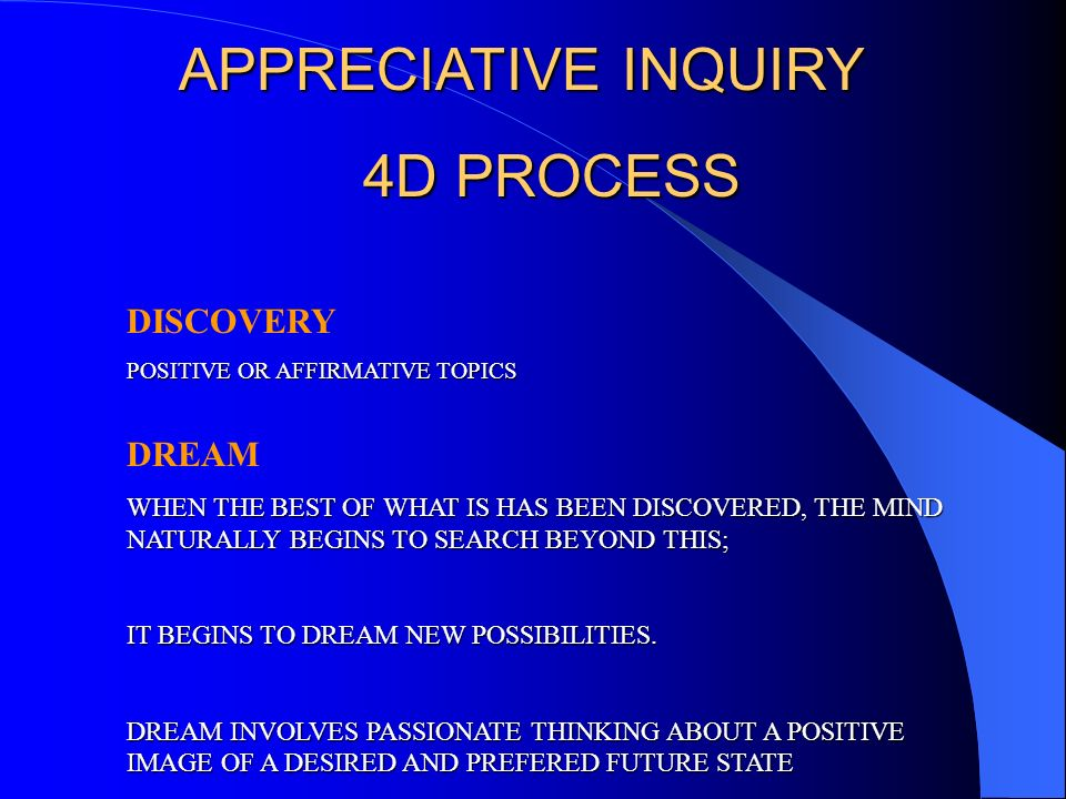 APPRECIATIVE INQUIRY 4D PROCESS DISCOVERY DREAM
