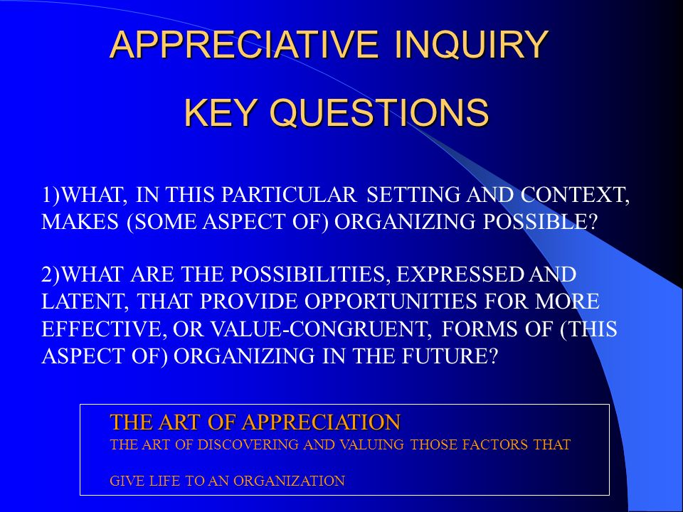APPRECIATIVE INQUIRY KEY QUESTIONS