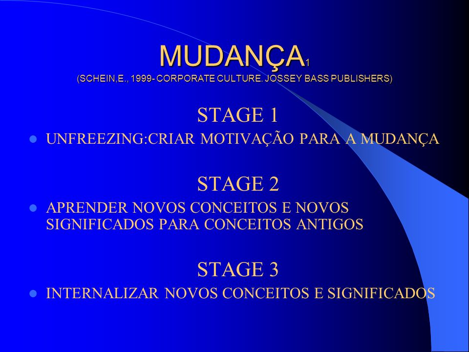 MUDANÇA1 (SCHEIN,E., 1999- CORPORATE CULTURE. JOSSEY BASS PUBLISHERS)