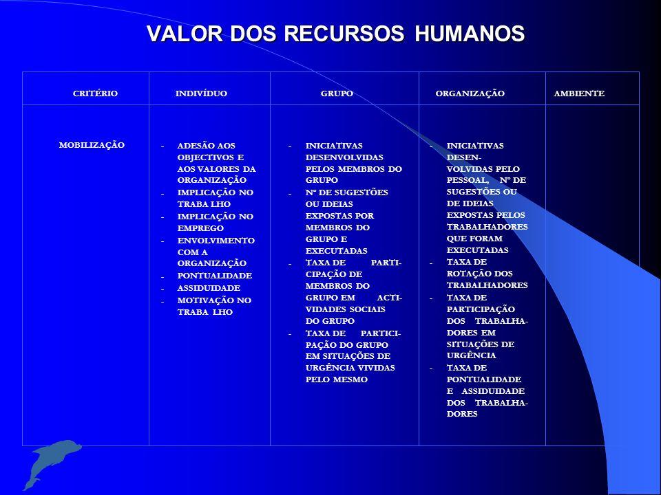 VALOR DOS RECURSOS HUMANOS