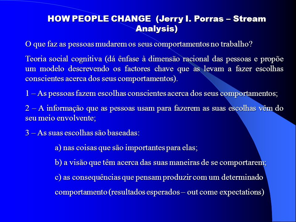 HOW PEOPLE CHANGE (Jerry I. Porras – Stream Analysis)