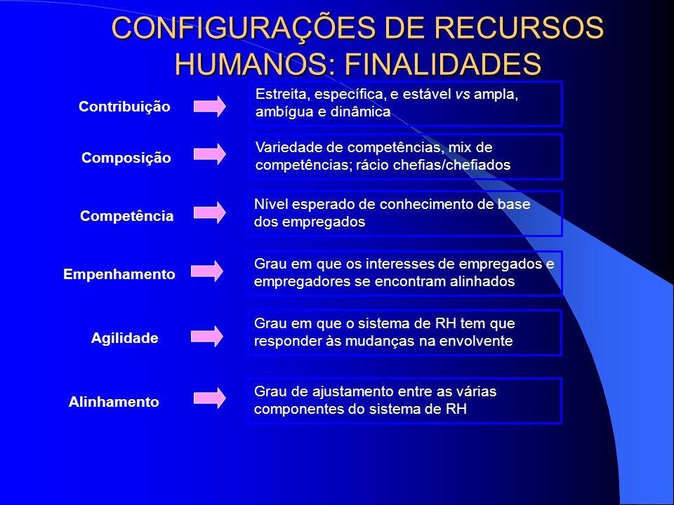 CONFIGURAÇÕES DE RECURSOS HUMANOS: FINALIDADES