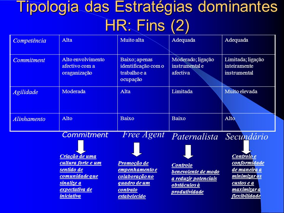 Tipologia das Estratégias dominantes HR: Fins (2)