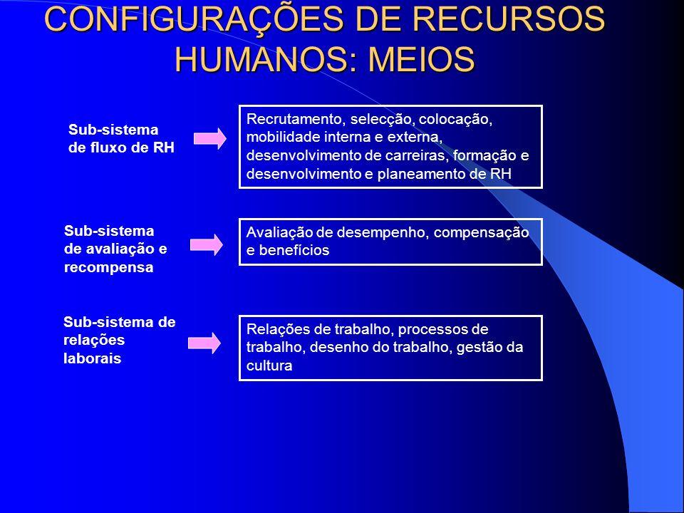 CONFIGURAÇÕES DE RECURSOS HUMANOS: MEIOS