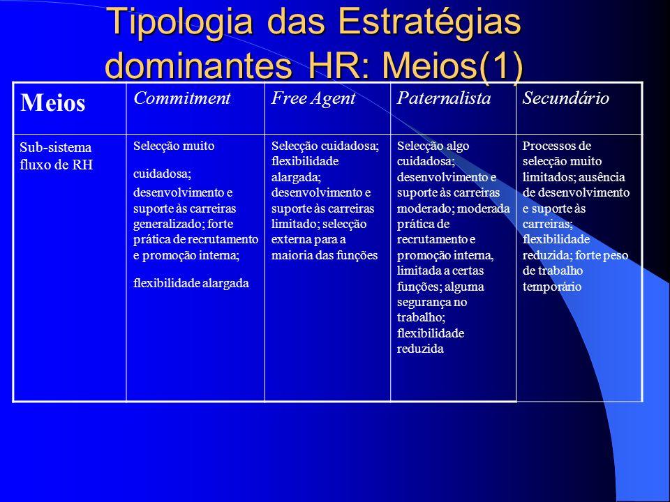 Tipologia das Estratégias dominantes HR: Meios(1)