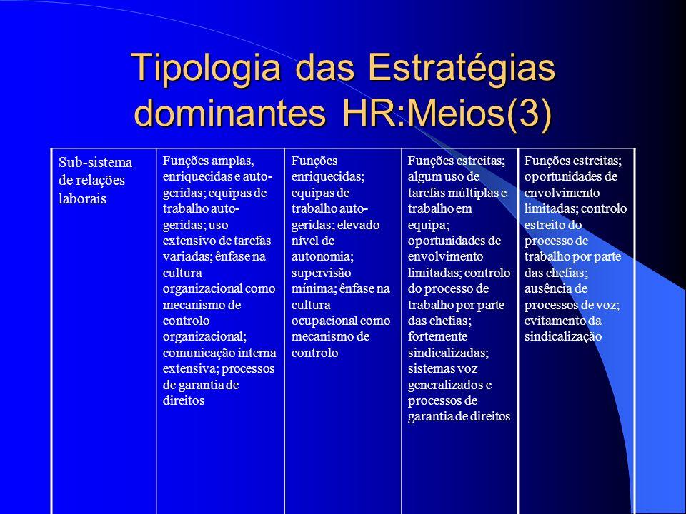 Tipologia das Estratégias dominantes HR:Meios(3)