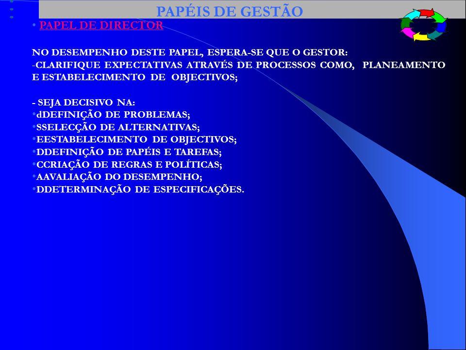 PAPÉIS DE GESTÃO PAPEL DE DIRECTOR