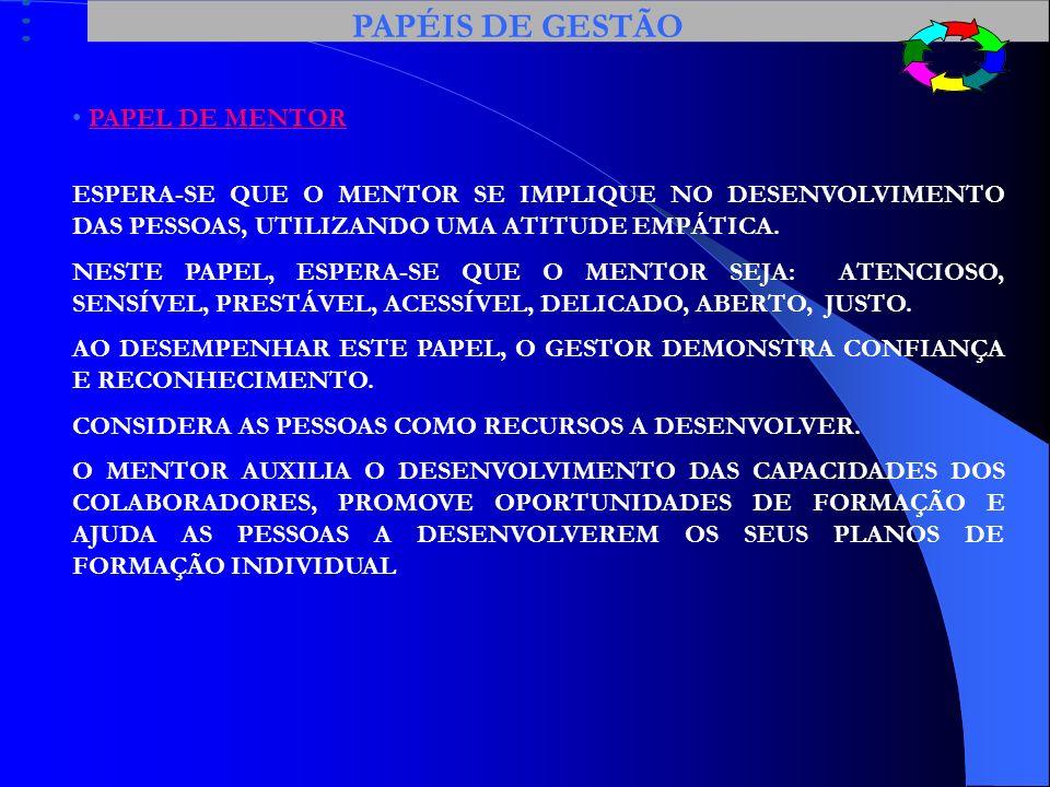 PAPÉIS DE GESTÃO PAPEL DE MENTOR