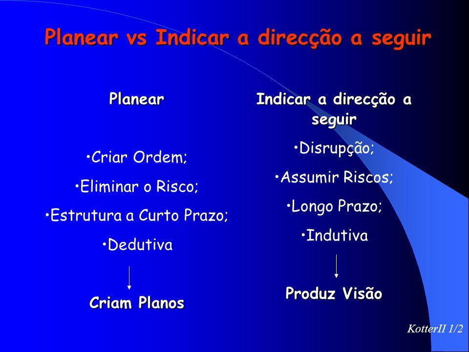 Planear vs Indicar a direcção a seguir