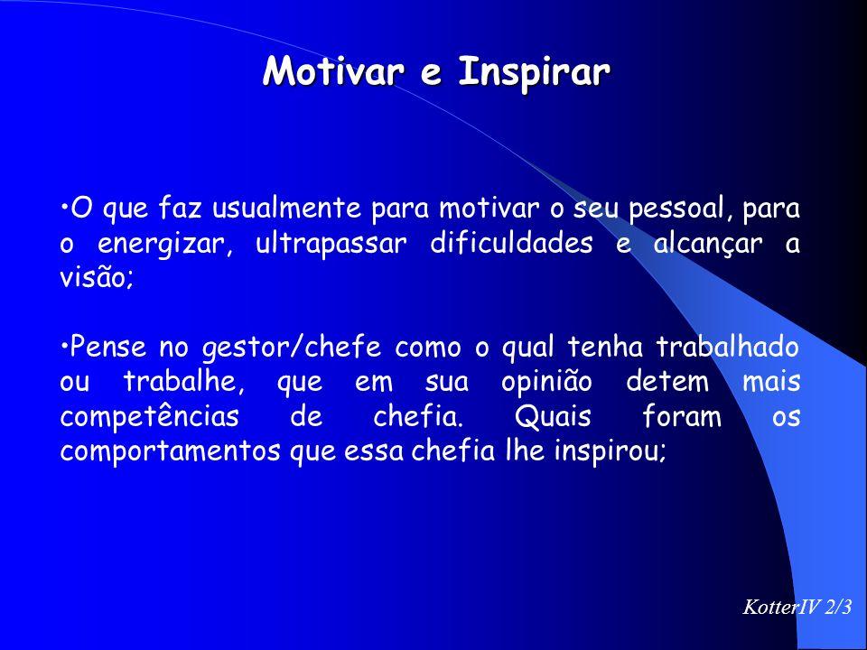 Motivar e Inspirar O que faz usualmente para motivar o seu pessoal, para o energizar, ultrapassar dificuldades e alcançar a visão;