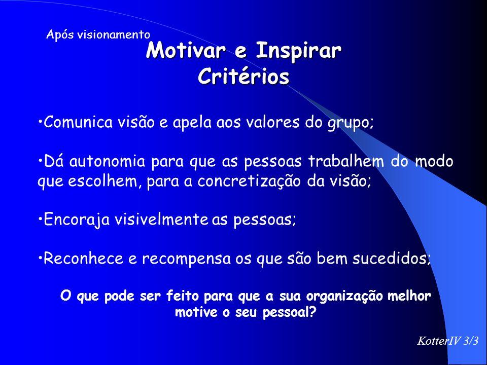 Motivar e Inspirar Critérios