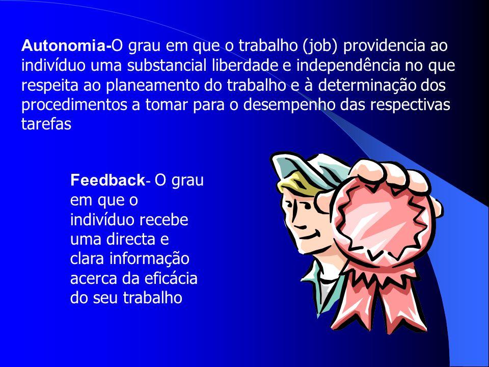 Autonomia-O grau em que o trabalho (job) providencia ao indivíduo uma substancial liberdade e independência no que respeita ao planeamento do trabalho e à determinação dos procedimentos a tomar para o desempenho das respectivas tarefas