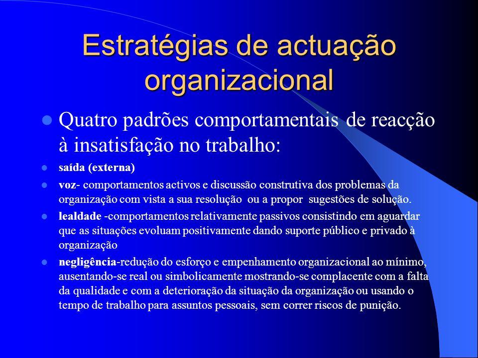 Estratégias de actuação organizacional