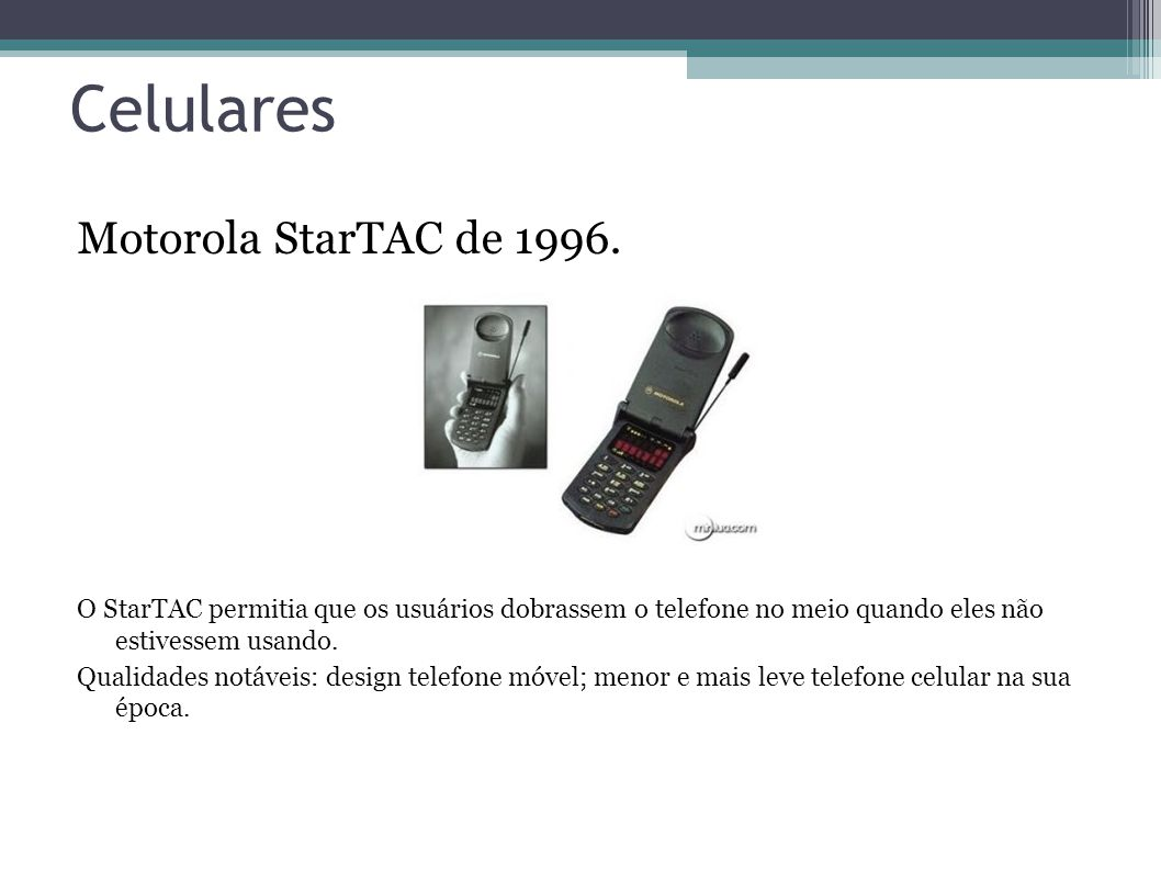 Celulares Motorola StarTAC de 1996.