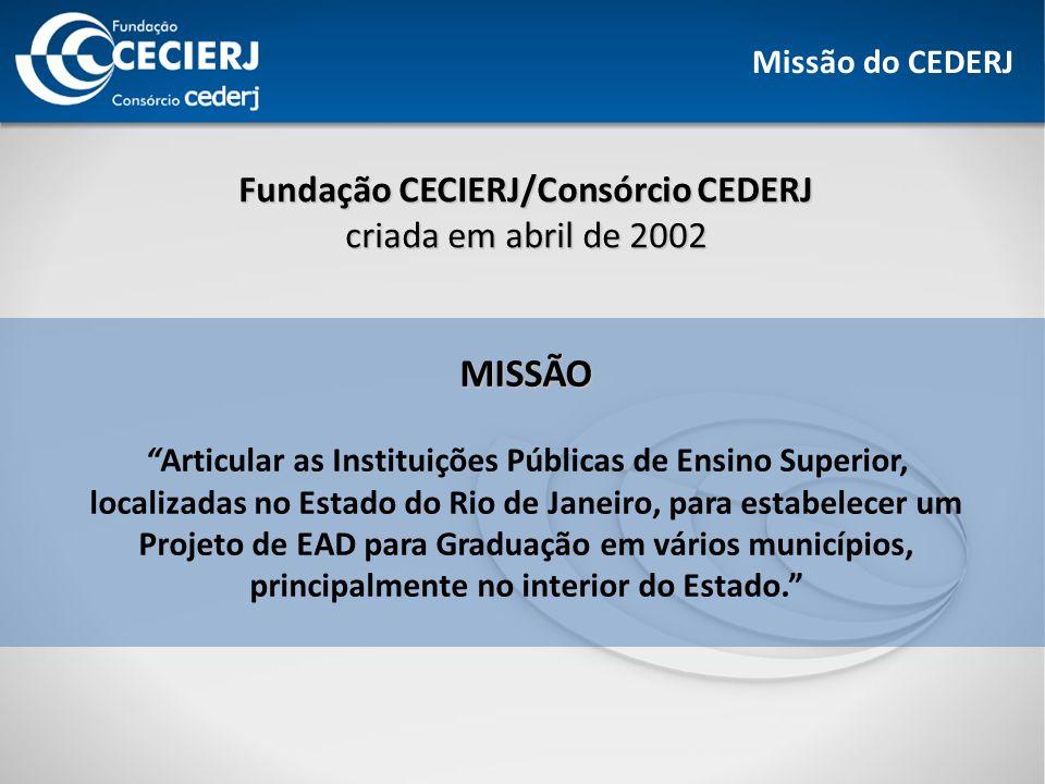 MISSÃO Fundação CECIERJ/Consórcio CEDERJ criada em abril de 2002