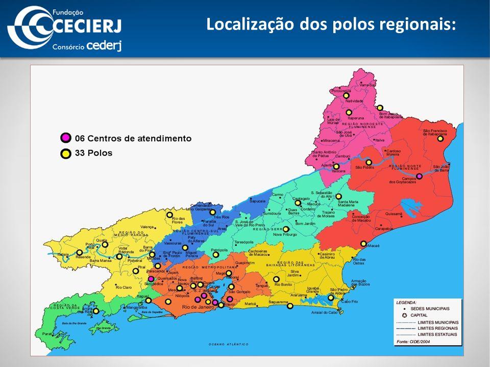 Localização dos polos regionais: