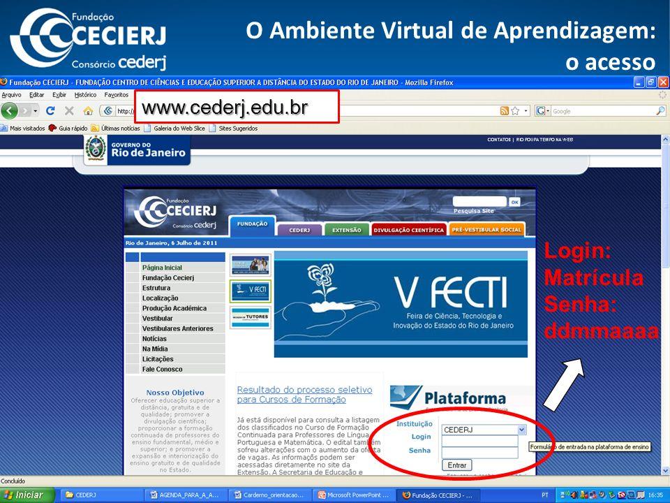 O Ambiente Virtual de Aprendizagem: o acesso