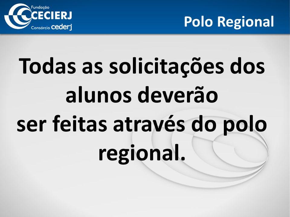 Polo Regional Todas as solicitações dos alunos deverão ser feitas através do polo regional.