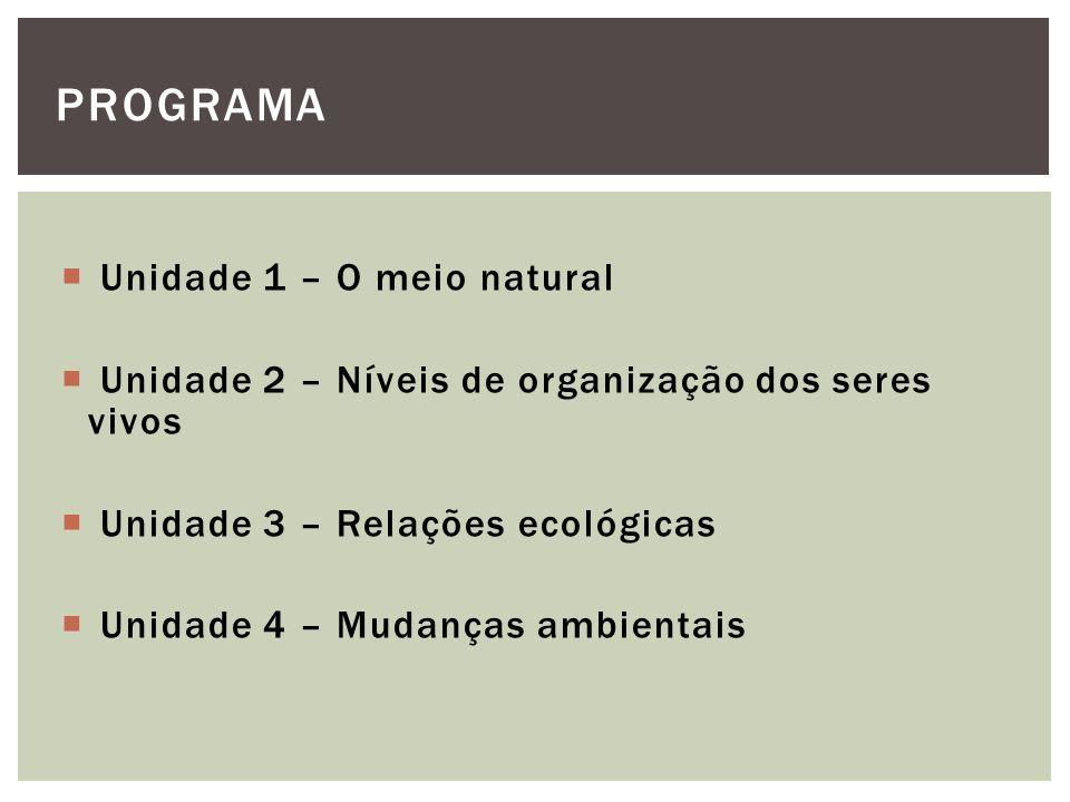 PROGRAMA Unidade 1 – O meio natural