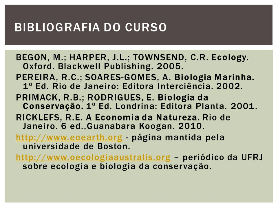 BIBLIOGRAFIA DO CURSO