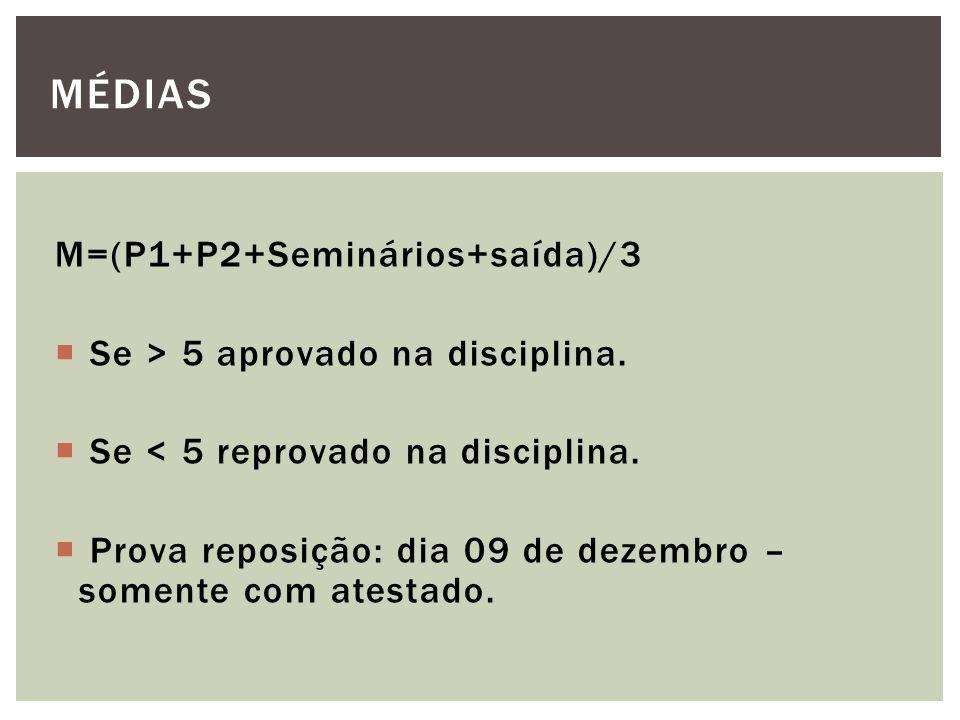 MÉDIAS M=(P1+P2+Seminários+saída)/3 Se > 5 aprovado na disciplina.