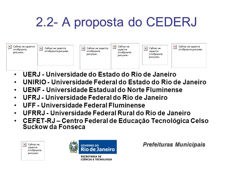 2.2- A proposta do CEDERJ UERJ - Universidade do Estado do Rio de Janeiro. UNIRIO - Universidade Federal do Estado do Rio de Janeiro.