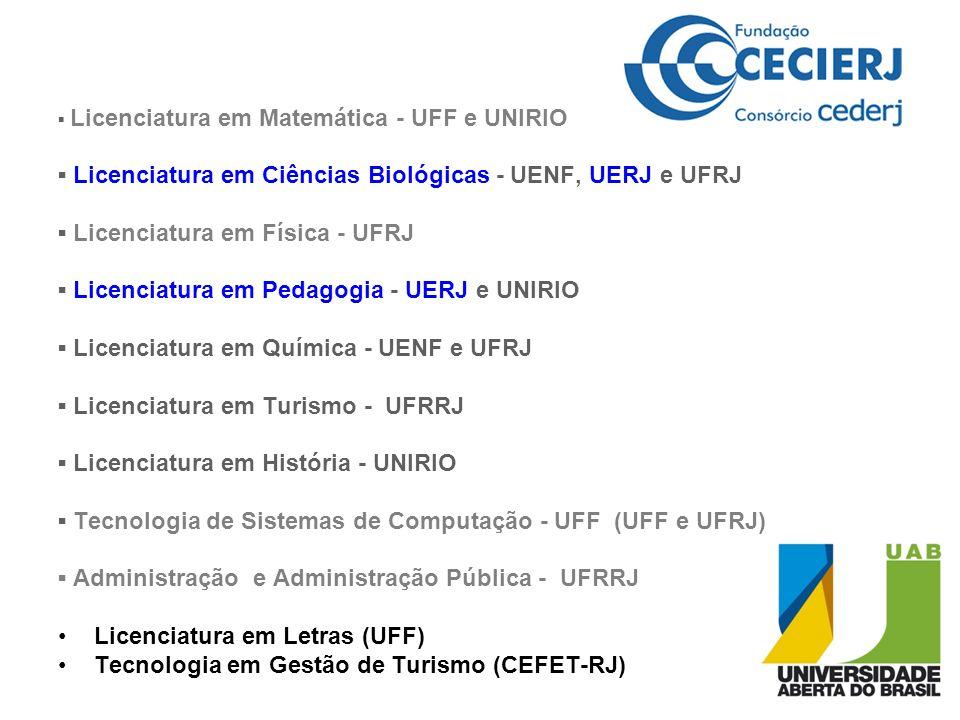 ▪ Licenciatura em Ciências Biológicas - UENF, UERJ e UFRJ