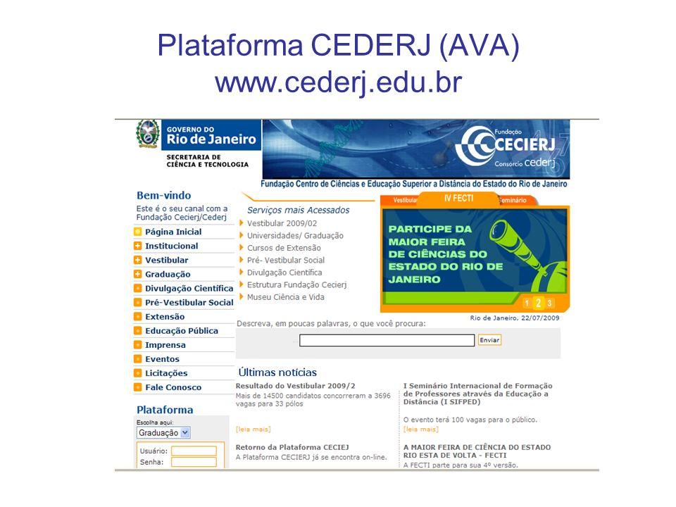 Plataforma CEDERJ (AVA) www.cederj.edu.br