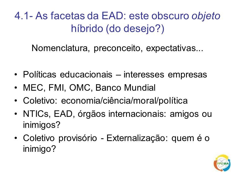 4.1- As facetas da EAD: este obscuro objeto híbrido (do desejo )
