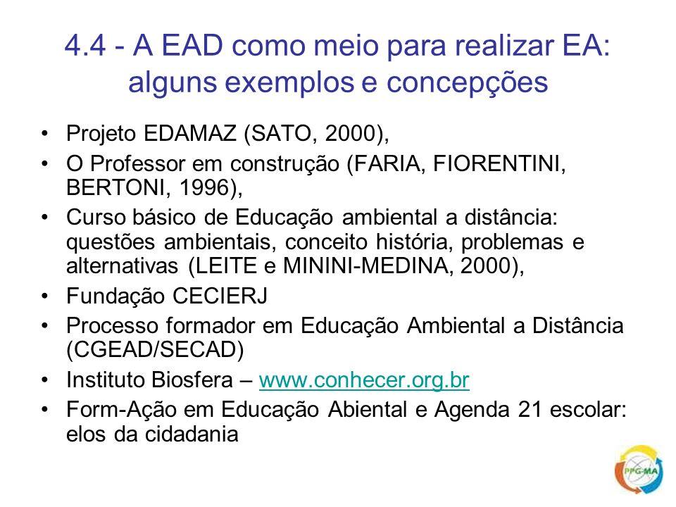 4.4 - A EAD como meio para realizar EA: alguns exemplos e concepções