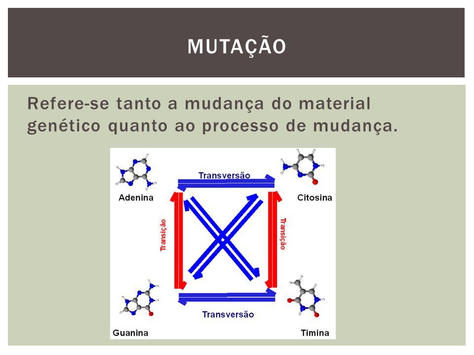 MUTAÇÃO Refere-se tanto a mudança do material genético quanto ao processo de mudança.