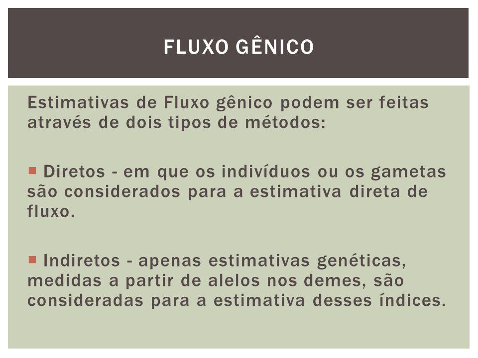 FLUXO GÊNICO Estimativas de Fluxo gênico podem ser feitas através de dois tipos de métodos: