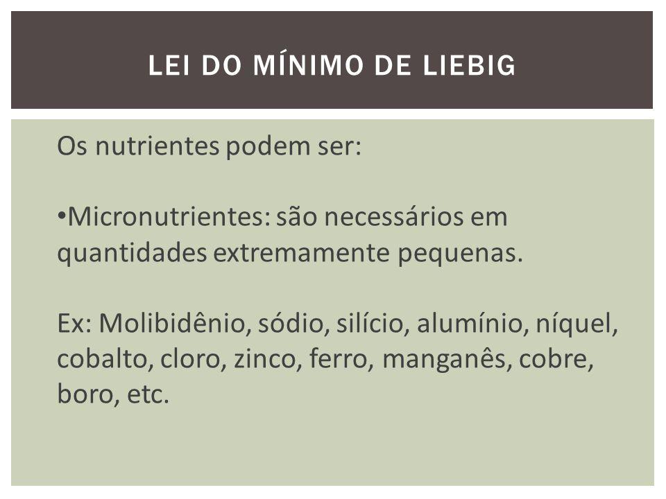 Lei do mínimo de liebig Os nutrientes podem ser: Micronutrientes: são necessários em quantidades extremamente pequenas.
