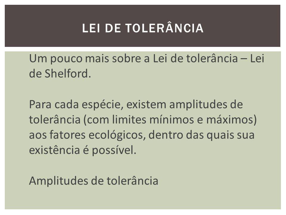 LEI DE TOLERÂNCIA Um pouco mais sobre a Lei de tolerância – Lei de Shelford. Para cada espécie, existem amplitudes de.