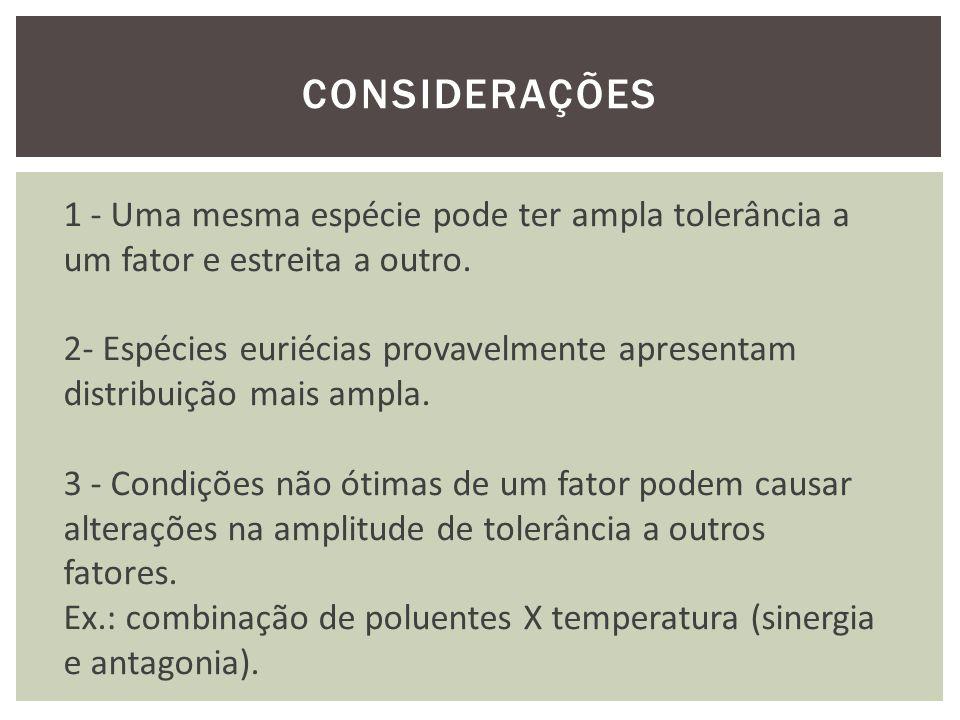 CONSIDERAÇÕES 1 - Uma mesma espécie pode ter ampla tolerância a um fator e estreita a outro. 2- Espécies euriécias provavelmente apresentam.