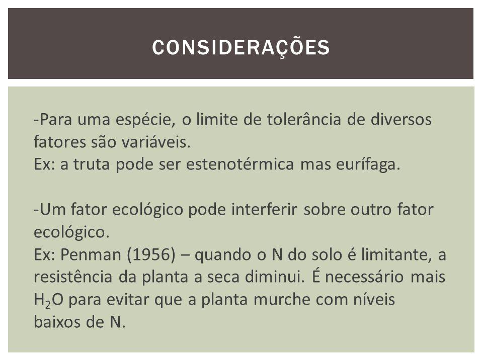 CONSIDERAÇÕES Para uma espécie, o limite de tolerância de diversos fatores são variáveis. Ex: a truta pode ser estenotérmica mas eurífaga.