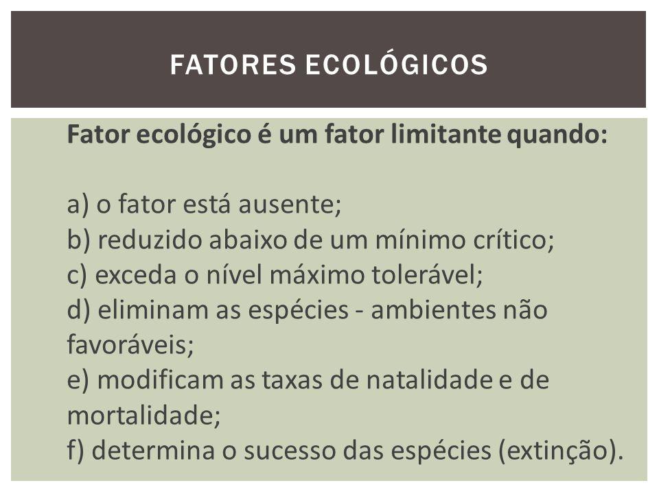 Fatores ecológicos Fator ecológico é um fator limitante quando: a) o fator está ausente; b) reduzido abaixo de um mínimo crítico;