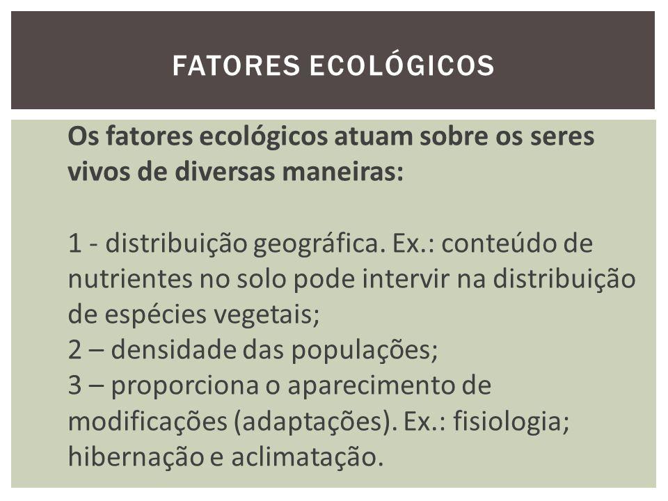 Fatores ecológicos Os fatores ecológicos atuam sobre os seres vivos de diversas maneiras: