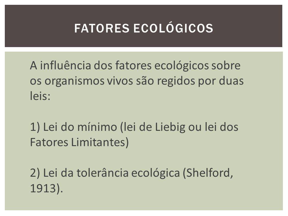 Fatores ecológicos A influência dos fatores ecológicos sobre. os organismos vivos são regidos por duas.