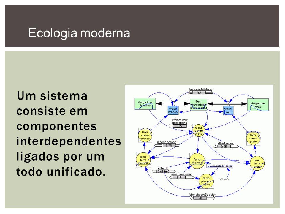 Ecologia moderna Um sistema consiste em componentes interdependentes ligados por um todo unificado.