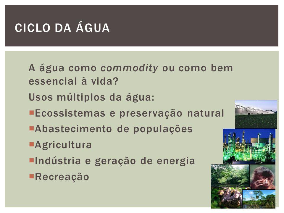 Ciclo da Água A água como commodity ou como bem essencial à vida