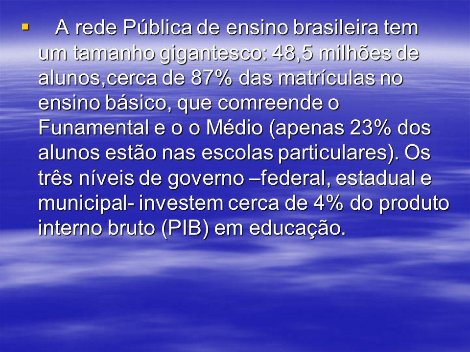 A rede Pública de ensino brasileira tem um tamanho gigantesco: 48,5 milhões de alunos,cerca de 87% das matrículas no ensino básico, que comreende o Funamental e o o Médio (apenas 23% dos alunos estão nas escolas particulares).