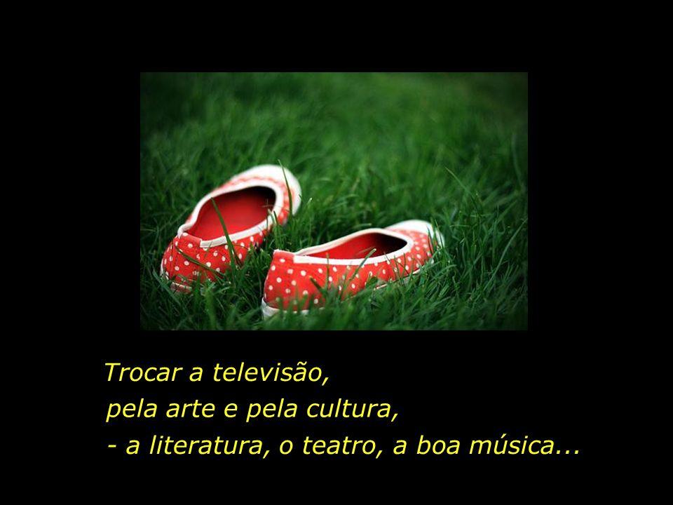Trocar a televisão, pela arte e pela cultura, - a literatura, o teatro, a boa música...