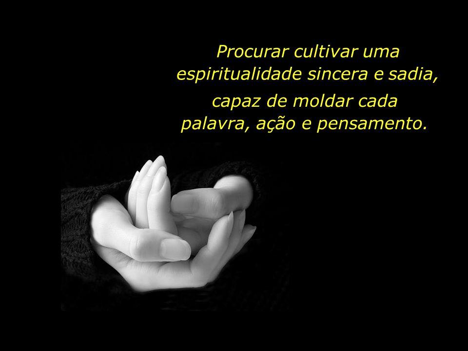 Procurar cultivar uma espiritualidade sincera e sadia,