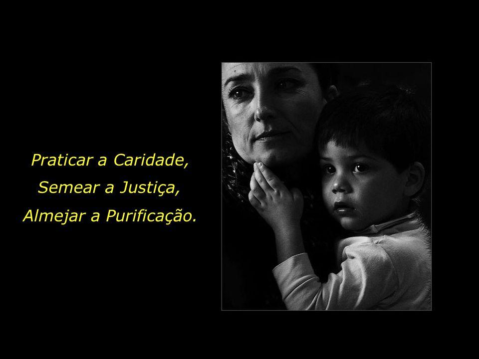 Praticar a Caridade, Semear a Justiça, Almejar a Purificação.