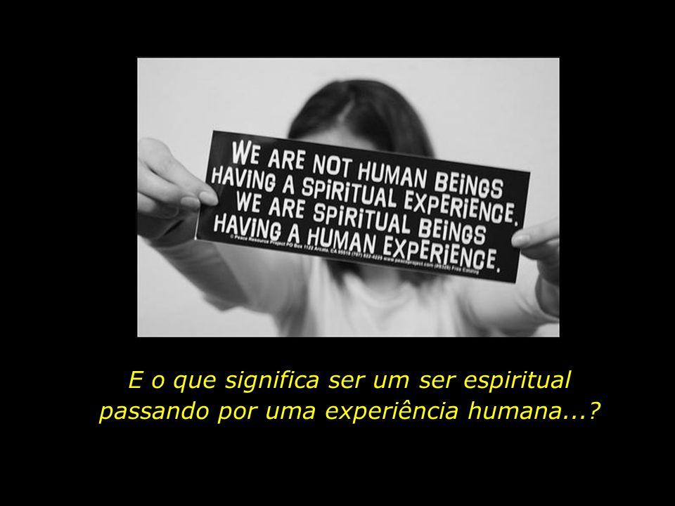 E o que significa ser um ser espiritual passando por uma experiência humana...