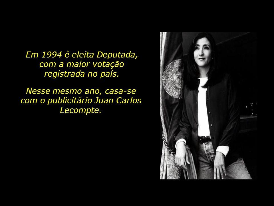 Em 1994 é eleita Deputada, com a maior votação registrada no país.