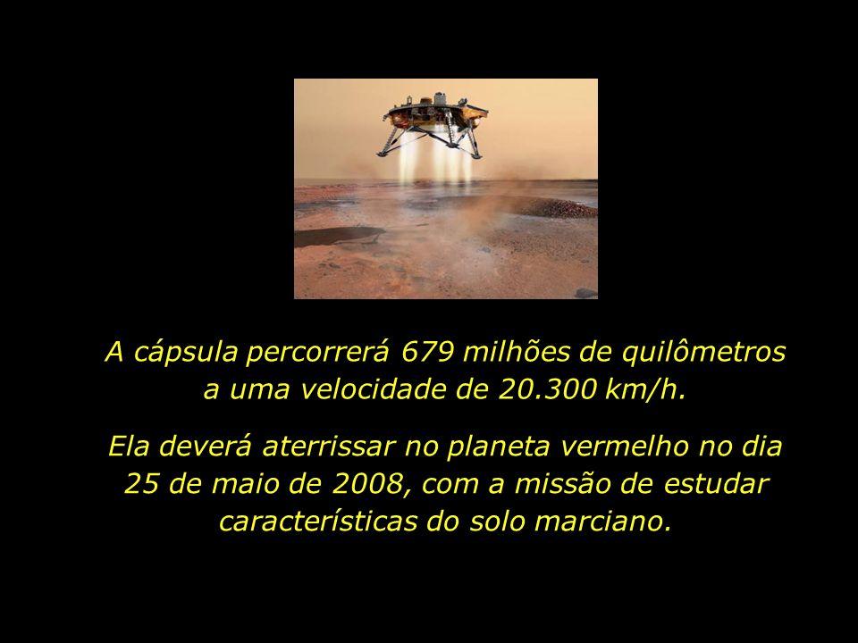 A cápsula percorrerá 679 milhões de quilômetros a uma velocidade de 20