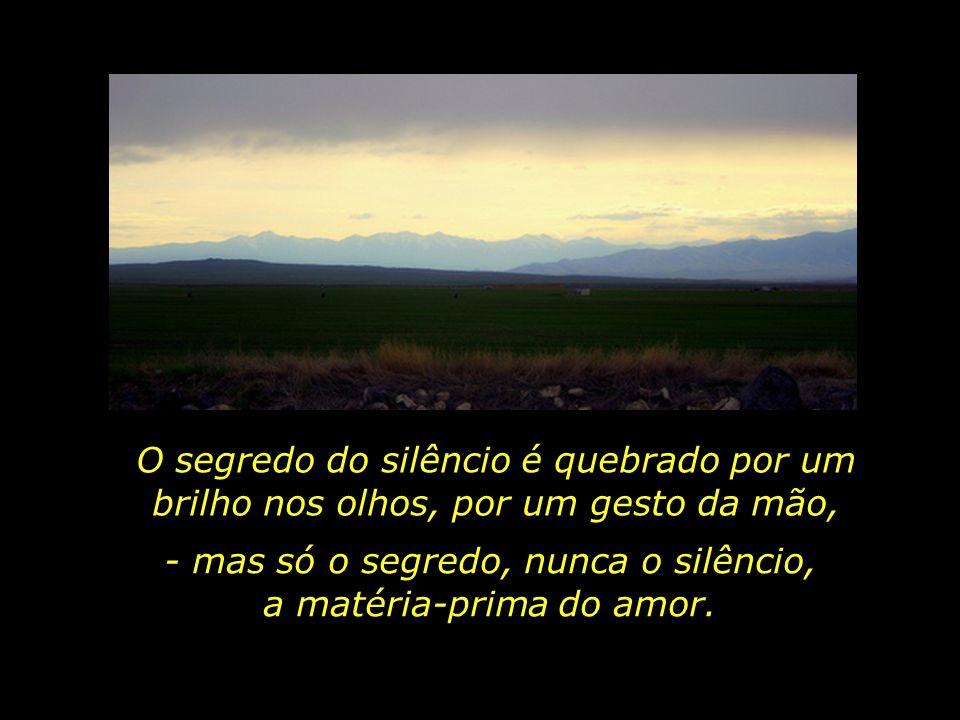 - mas só o segredo, nunca o silêncio, a matéria-prima do amor.