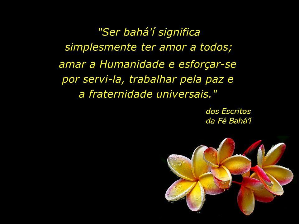 Ser bahá í significa simplesmente ter amor a todos;
